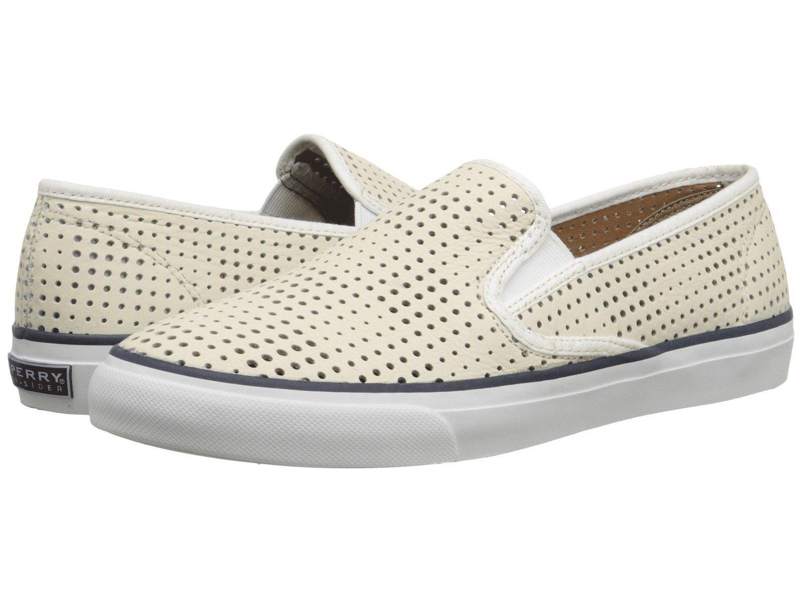 SPERRY TOP SIDER SEASIDE PERFORATED PERF bianca donna scarpe da ginnastica BOAT scarpe
