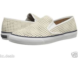 46513d01675 Image is loading SPERRY-TOP-SIDER-SEASIDE-PERFORATED-PERF-WHITE-WOMENS-