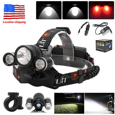 20000LM 3x XML T6+2R5 LED Headlamp Bicycle Headlight Torch USB Rechargeable Lamp