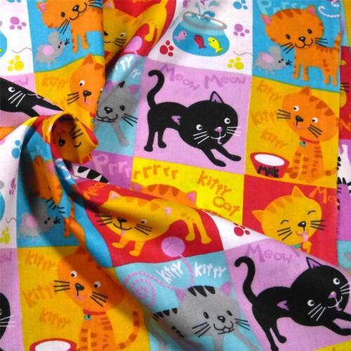 """Vintage Cotton Fabric Cats for Appliques Cute /""""Kitty Kitty/"""" Pictures Per 3 Rows"""