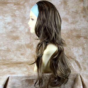 Blonde-Brown-3-4-Fall-Hair-Piece-Long-Straight-Wavy-Lady-Half-Wig-from-WIWIGS-UK
