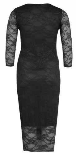 Womens Plus Size 3//4 Sleeve Floral Lace Calf Length Long Bodycon Midi Dress 8-22