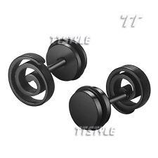 TT 8mm Black Surgical Steel Swirl O-Ring Fake Ear Plug Earrings Body (BE52D)