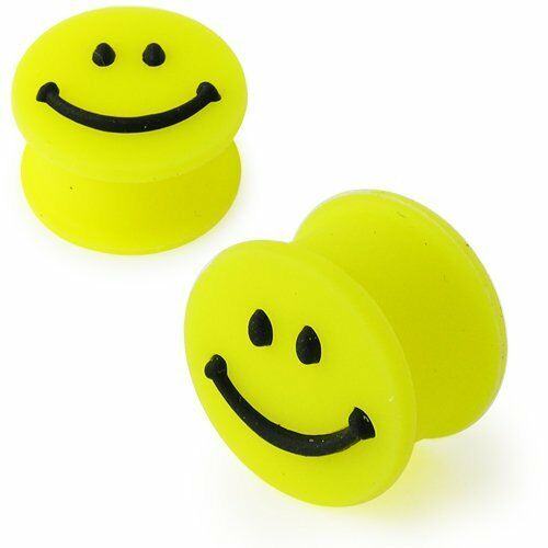 New Novelty Smile Smiley Face Ear Plug Tunnel Yellow Silicone Various Sizes