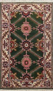 Geometric Green Agra Oriental Area Rug Wool Hand-knotted Traditional Carpet 4x6