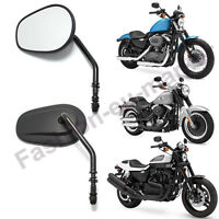Black Motorcycle Mirrors Long Stem For Harley-davidson Sportster Dyna Softail Us