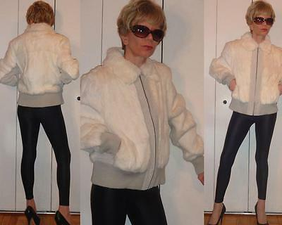 NWT MIXIT OFF-WHITE RABBIT FUR GRAYISH GENUINE LEATHER SUEDE BOMBER JACKET L