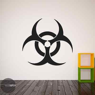 Biohazard Symbol With Text Vinyl Wall Decal Sticker Horror