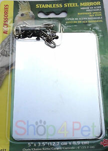 Bird-Cage-mirror-Stainless-Steel-5-034-by-3-5-034-with-attaching-Clip-amp-Chain-pet