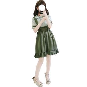 Women-039-s-Bowknot-Dress-Chiffon-Shirt-Girls-Lolita-Kawaii-Short-Sleeve-Blouse-Tops