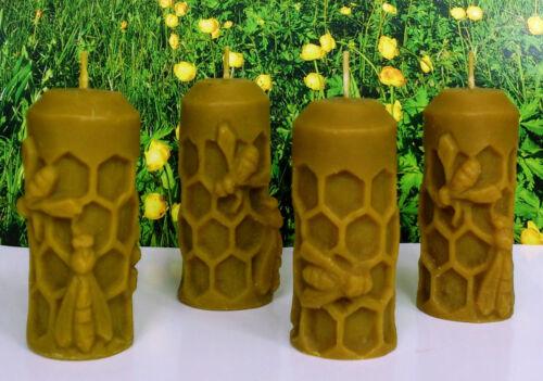 "Ukrainian bee Set of 4 Bee Candles 1,4/""x3/"" Handmade Natural Bees Wax Gift"