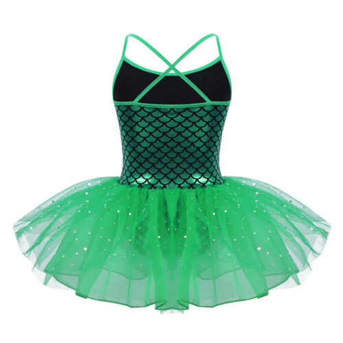 Girls Sequined Ballet Dance Dress Gymnastic Leotard Tutu Skirt Fairy Dancewear