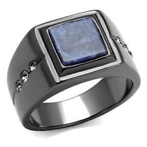 Men-039-s-Square-Blue-Sandstone-amp-CZ-Black-Stainless-Steel-Ring
