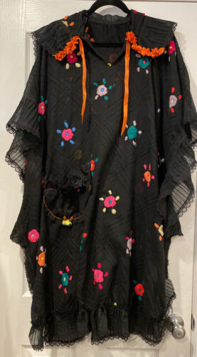 Vintage Mexican Beach Cover Up Colorful Embroidery