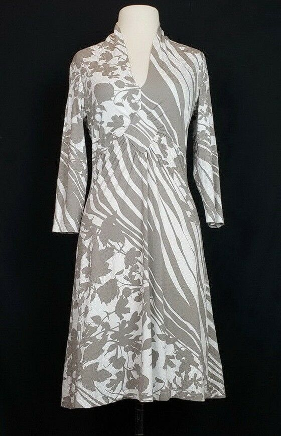 Ebby by Farinaz Taghavi M Dress Taupe Brown White Floral Print Misses