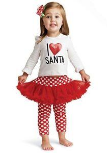NEW Mud Pie I Love Santa Christmas Tutu Outfit Kids Baby Size 9-12 ...