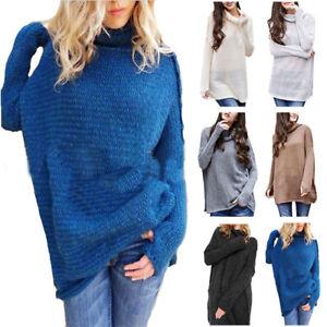 717d968b111321 Women Baggy Knitted Long Sleeve Sweater Jumper Winter Pullover High ...