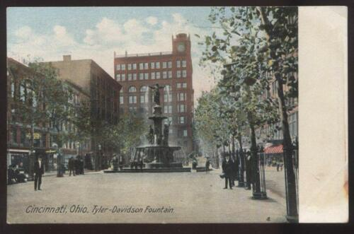 1910s POSTCARD CINCINNATI OH TYLER DAVIDSON FOUNTAIN POSTAL TELEGRAPH SIGN