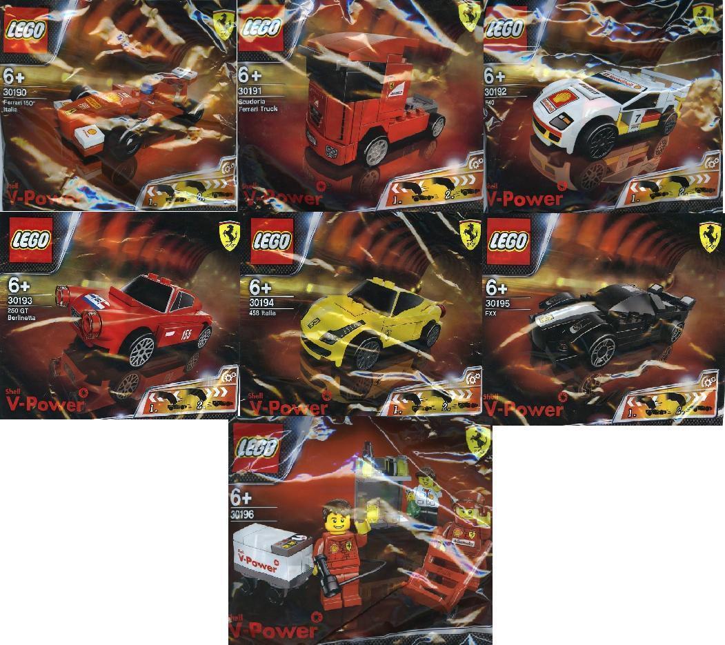 7x LEGO FERRARI SHELL V-POWER SET COMPLETO 30190 a 30196