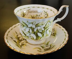 Royal-Albert-Flowers-of-the-Month-JANUARY-Snowdrop-Teacup-Saucer