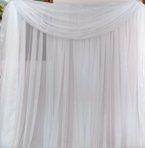 "Set of 2 White Sheer Voile drapes 56"" wide x the length you need. Weddings"