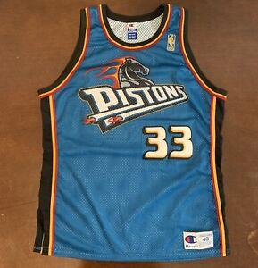 size 40 3bcf6 15850 Details about Rare Vintage Champion NBA Detroit Pistons Grant Hill Gold  Logo Basketball Jersey