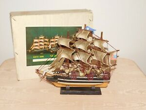"""VINTAGE 11 1/2"""" HIGH 13 1/2"""" WIDE RED JACKET MODEL PIRATE SAILING SHIP in BOX"""