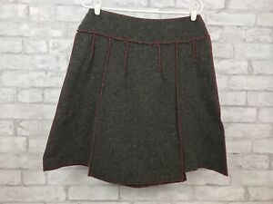 Beebop-amp-Wally-New-York-Skirt-Charcoal-Gray-Wool-Blend-Red-Top-Stitch-Size-Large