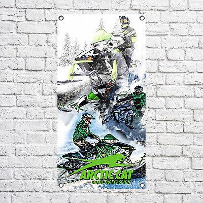 Arctic Cat Banner Full Color Custom Vinyl Sled Garage Snowmobile