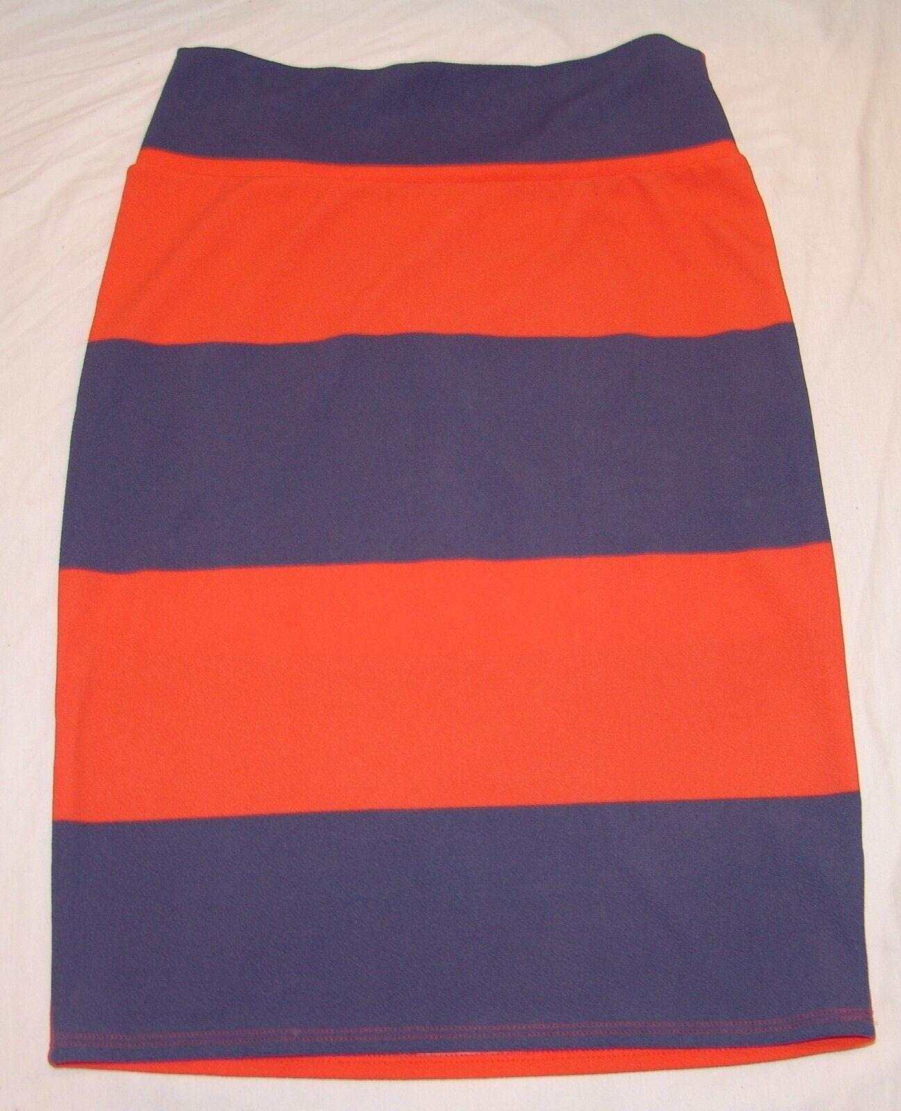 LuLaroe Simply Comfortable Skirt L Womens orange bluee Striped Straight Pencil