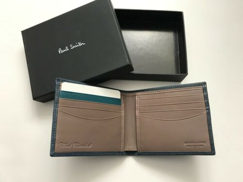 Paul Smith Mens Petrol Blue 8 CC Bifold Wallet Boxed