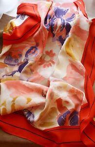 100-Silk-34-034-Large-Square-Scarf-Women-Shawl-Orange-Purple-Vintage-Scarf