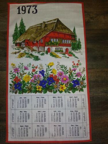Vintage Linen Collectible Calendar Dish TeaTowel 1973  House Pine Trees Flowers