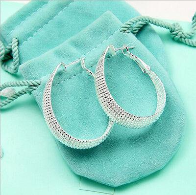 Wholesale Women Jewelry 925 Sterling Silver Plated Scallop Hoop Dangle Earring