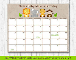 photo about Printable Pregnancy Calendar identified as Information over Lovely Jungle Safari Pets Printable Youngster Because of Day Calendar Editable PDF