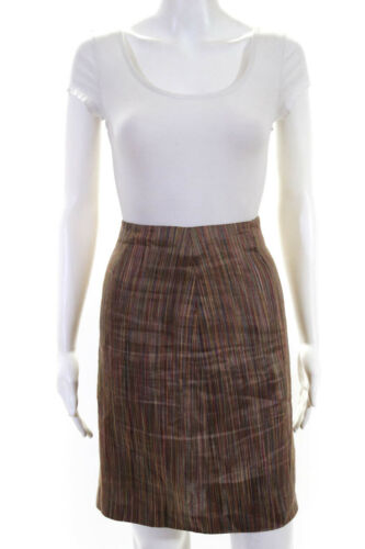 Sui Anna Sui  Womens A Line Linen Skirt Brown Red