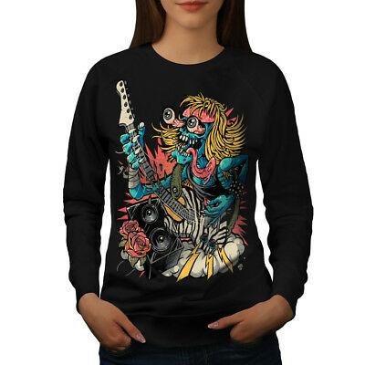 Diplomatisch Wellcoda Rock Band Guitar Music Womens Sweatshirt, Mad Casual Pullover Jumper