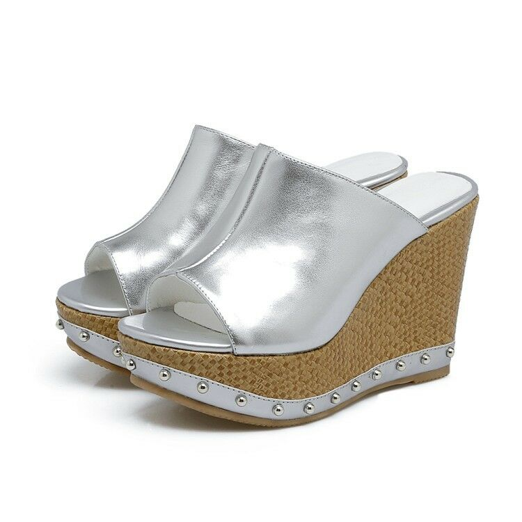 Y para mujeres damas nos blancoo o Plata Cuña Cuña Cuña Tacón Zapatillas Sandalias Zapatos Talla 4.556  sorteos de estadio
