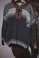 DALE OF NORWAY Setesdal Pewter Half Clasp Wool Nordic Sweater Unisex Men L Black