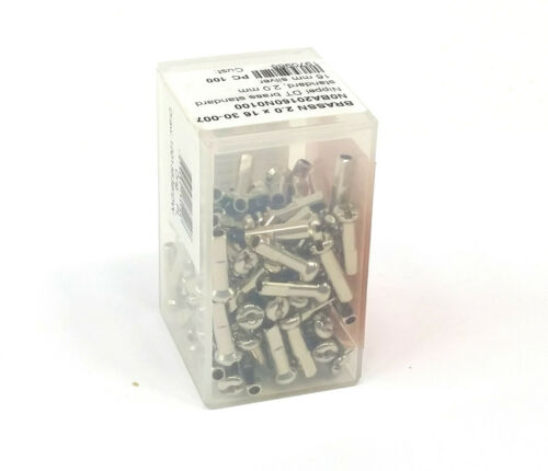 DT Swiss 2.0 x 16mm Silver Brass Nipples Box of 100