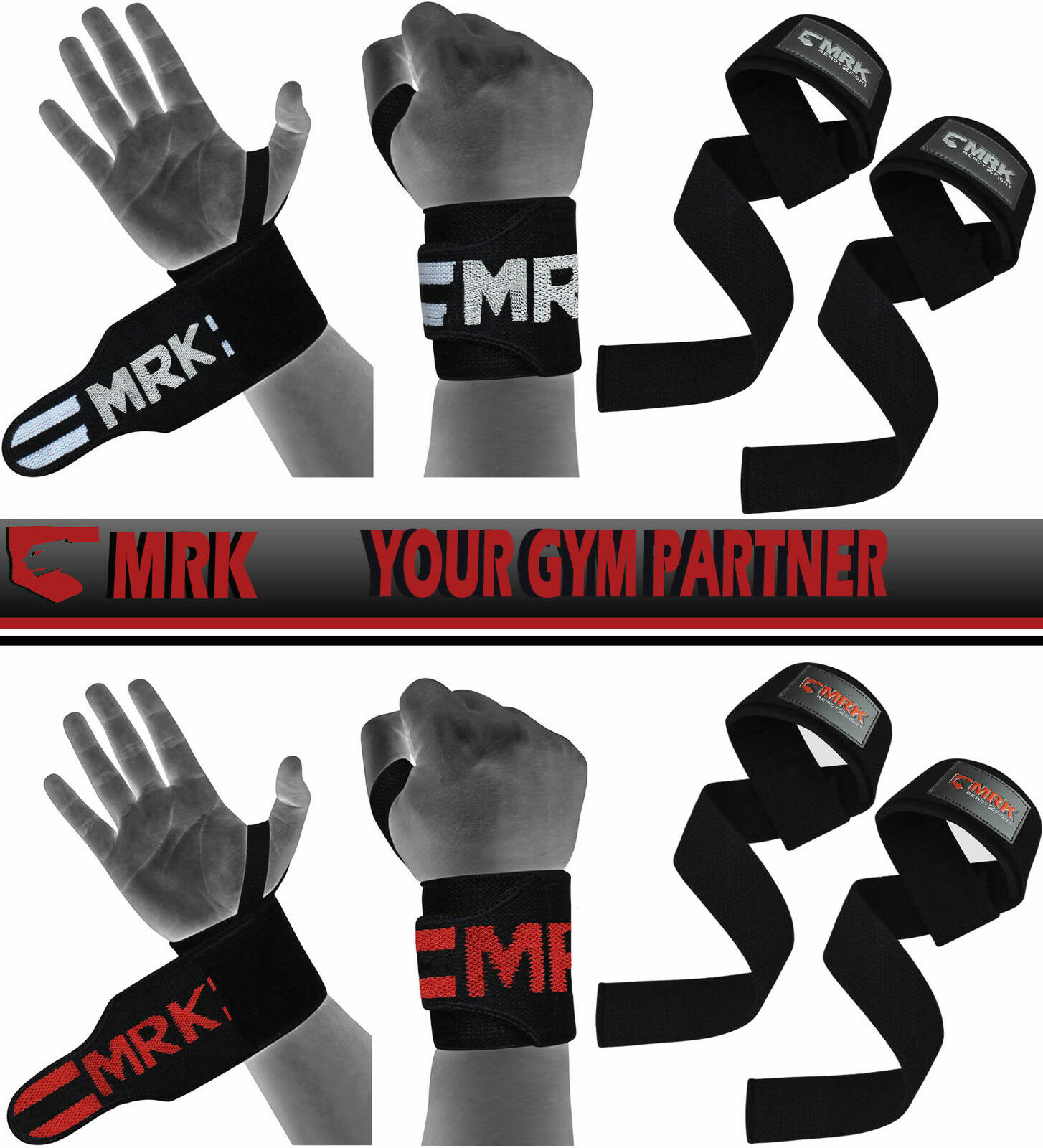 BOOM Weight Lifting Figure 8 Training Gym Bar Padded Wrist Straps Support Wraps