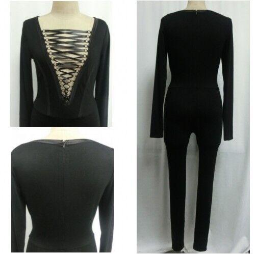 Black Celebrity Style Lace Up Long  Sleeve Unitard Leotard  Catsuit Jumpsuit