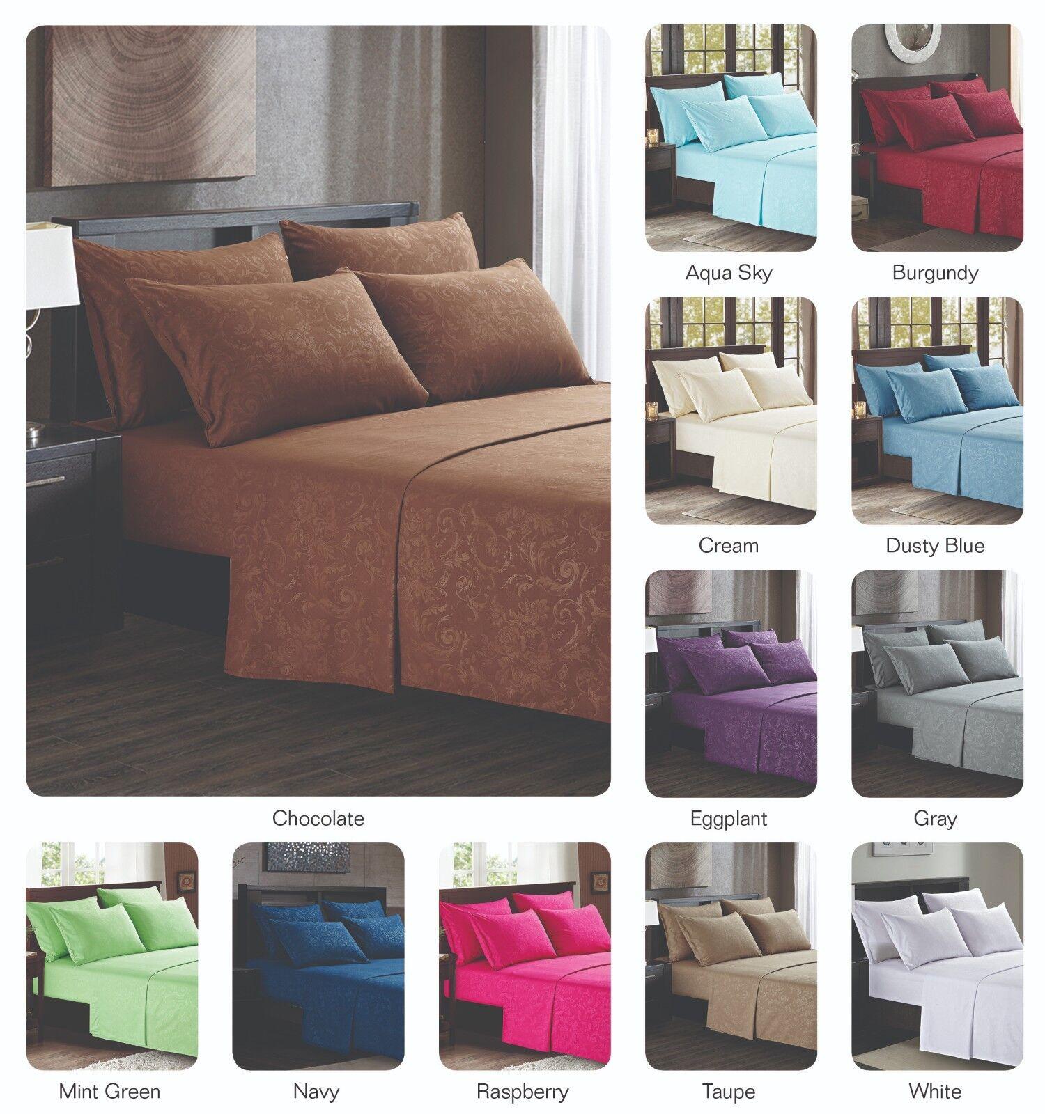 Platinum Hotel Quality Embossed Queen Sheet Set w 4 Pillow Cases Navy bluee Dark