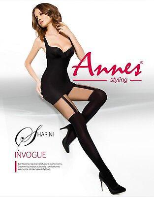 ANNES Sharini Luxury Super Fine Soft 60 Denier Decorative Mock Stocking Tights