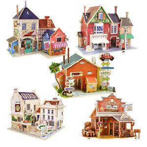 3D Holz puzzle Holz Spielzeug Hausbau Modellbau Kinder ...