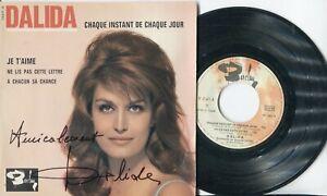 Autographe Dédicace ORIGINAL de la chanteuse DALIDA sur Pochette EP 45T 4 titres