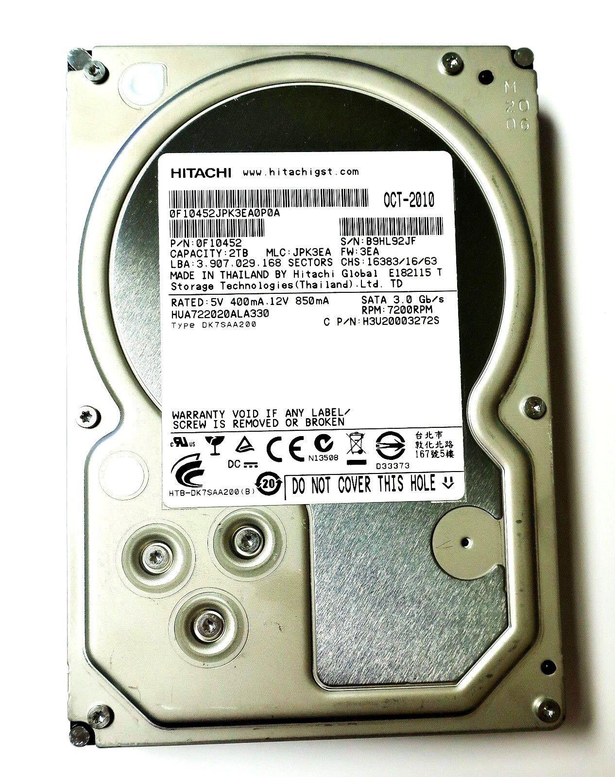 """Hitachi Ultrastar HUA722010CLA330 A7K2000 1TB 7200RPM SATA 3Gb//s 3.5/"""" Hard drive"""