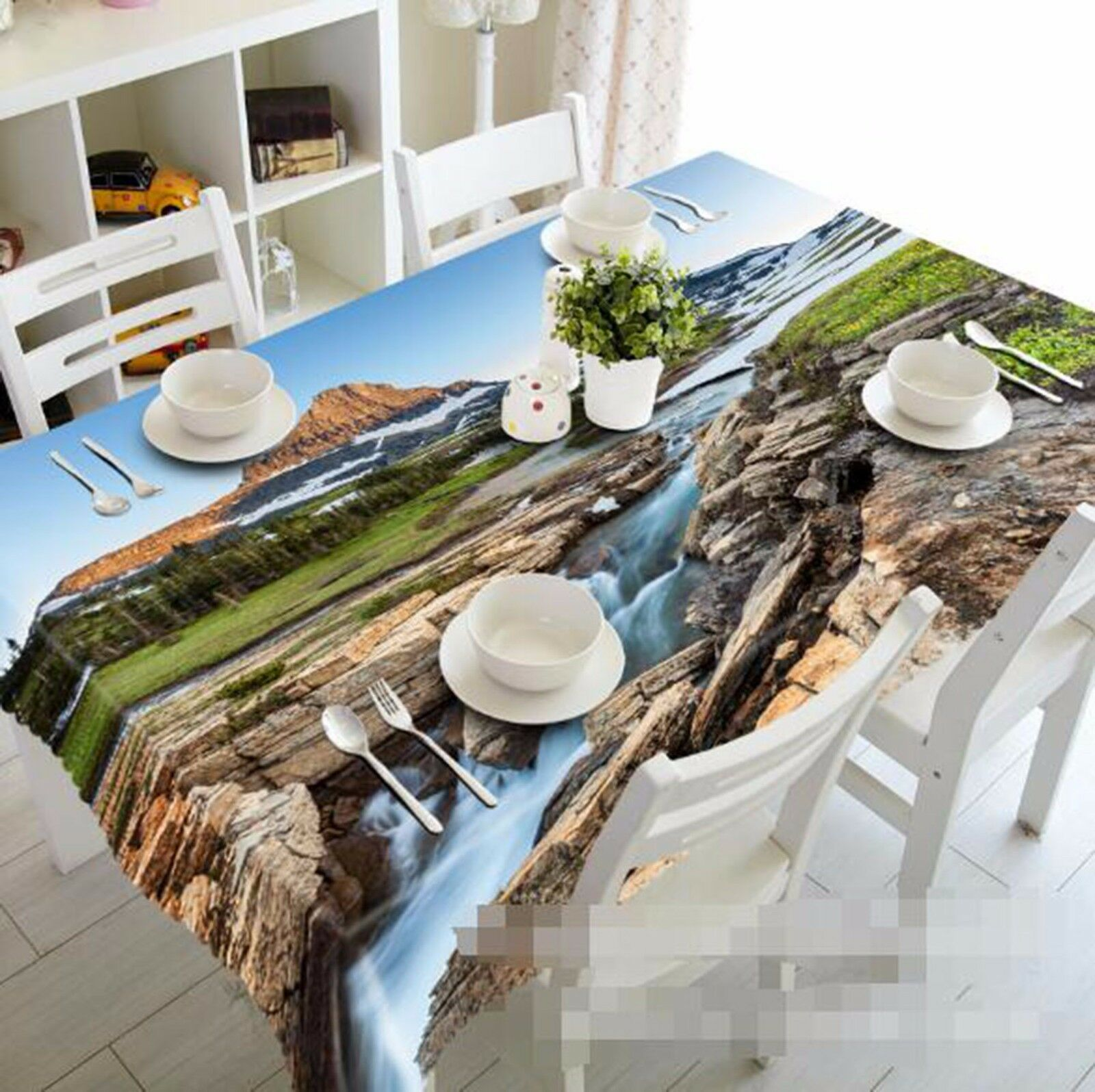 Flux 3D 401 Nappe Table Cover Cloth fête d'anniversaire AJ papier peint Royaume-Uni Citron