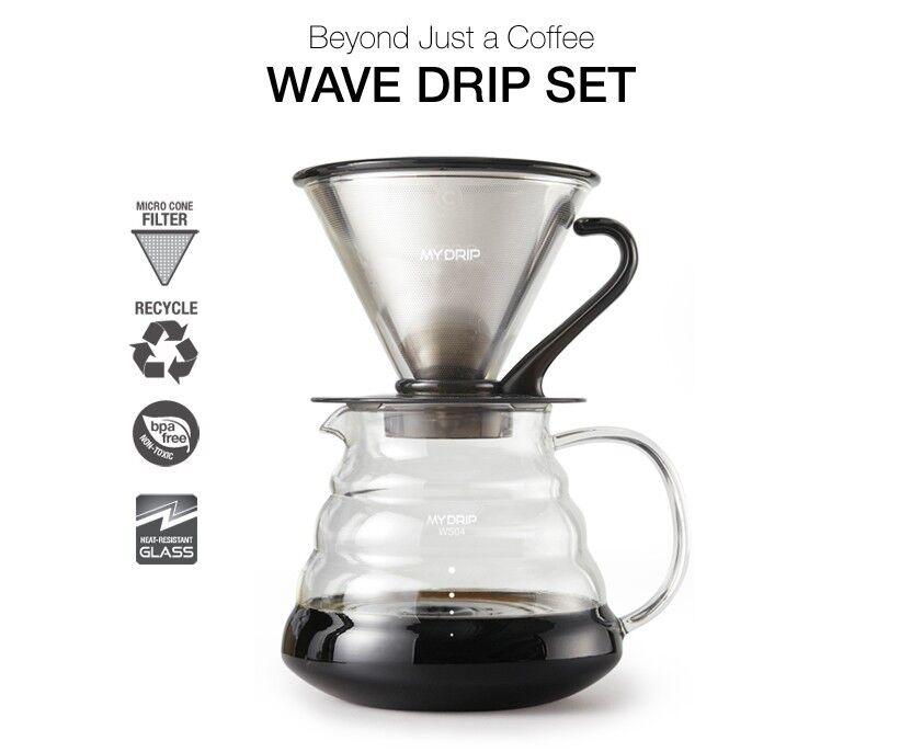 BEANPLUS MY DRIP GF 01 03 Wave à Café Set semi parmanent Inoxydable Filtre