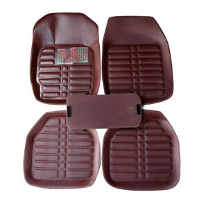 5Pcs-set-universal-coffee-color-car-auto-floor-mats-floor-liner-leather-carpet-B